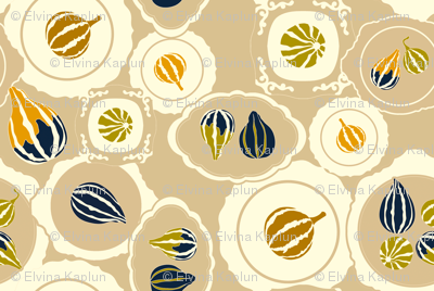 Gourds on vintage plates