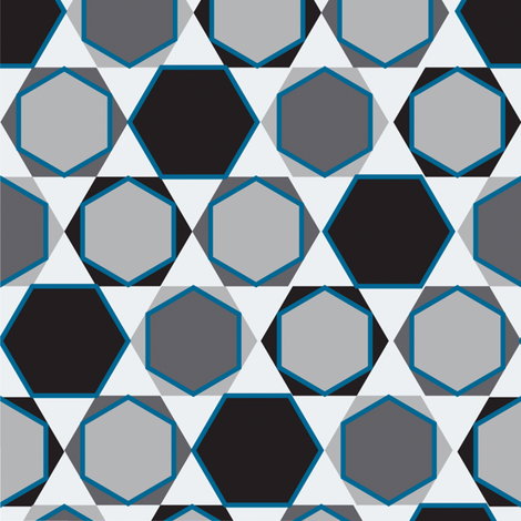 Hexagons  (Small Blue) fabric by nekineko on Spoonflower - custom fabric