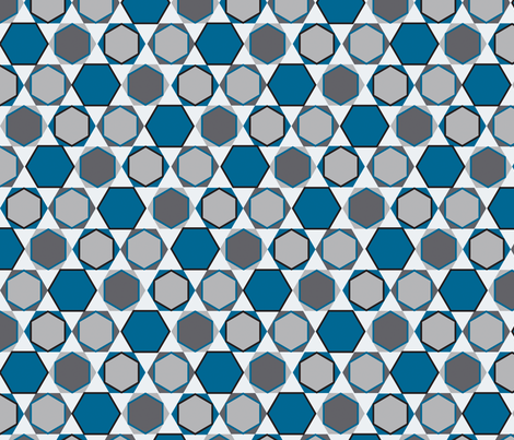Hexagons (Big Blue) fabric by nekineko on Spoonflower - custom fabric