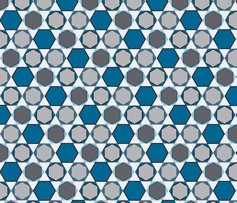 Hexagons (Big Blue) fabric by nekineko on Spoonflower - custom fabric