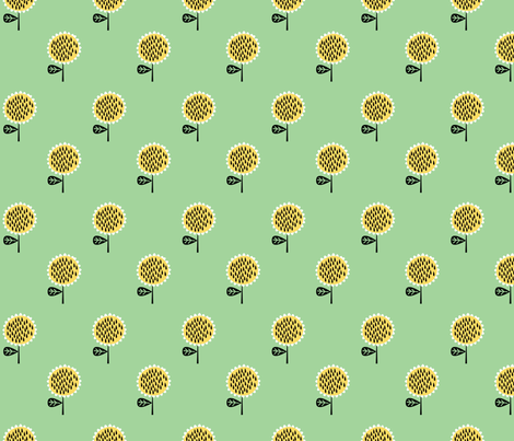 sunflowers green fabric by anda on Spoonflower - custom fabric