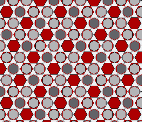 Hexagons (Big Red) fabric by nekineko on Spoonflower - custom fabric