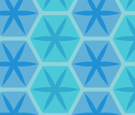 Hexstars (Blue) fabric by nekineko on Spoonflower - custom fabric