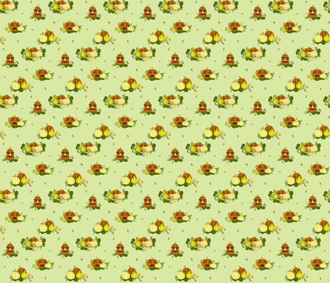Pumpkins Undercover - Light Green fabric by lulakiti on Spoonflower - custom fabric