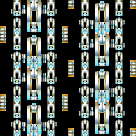 Industrial Impact in metallic links of blue fabric by joanmclemore on Spoonflower - custom fabric