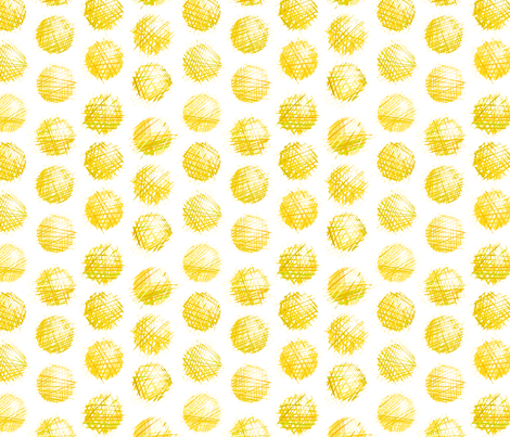 sketchy dots - yellow on white fabric by ravynka on Spoonflower - custom fabric