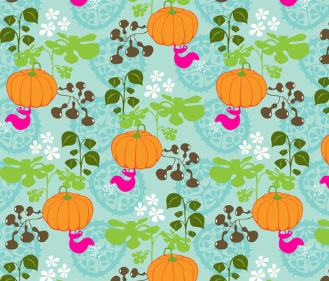 Gourds Galore and a Pink Squirrel fabric by zesti on Spoonflower - custom fabric