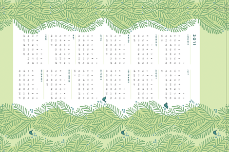 arborvitae green calendar towel fabric by monmeehan on Spoonflower - custom fabric