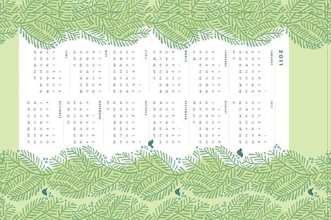 arborvitae green calendar towel fabric by monmeehan on Spoonflower - custom fabric