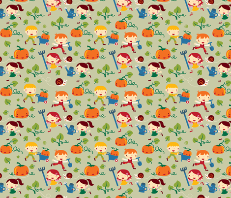 Gardening Kids fabric by bora on Spoonflower - custom fabric