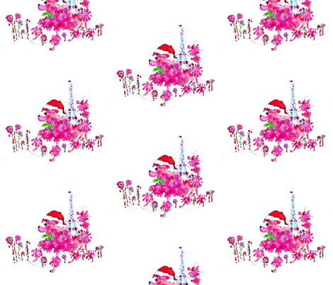 Peppie La Poodle shops for Christmas by Rosanna Hope for babybonbons fabric by rosannahope on Spoonflower - custom fabric