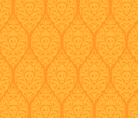 Spooky Damask - Orange fabric by pattysloniger on Spoonflower - custom fabric