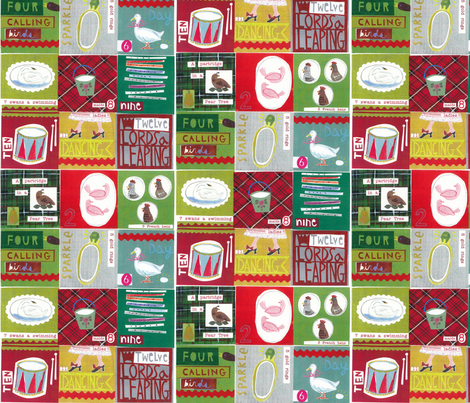 The Twelve days of Christmas fabric by nsta on Spoonflower - custom fabric