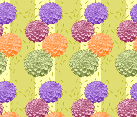 Pretty Colorful Dahlias with Stripe fabric by ravenwoodstudiodesigns on Spoonflower - custom fabric