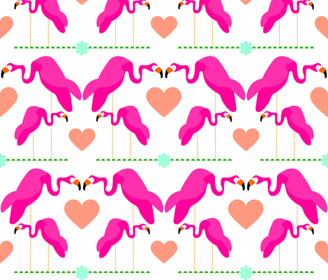 flamingo love fabric by lottiefrank on Spoonflower - custom fabric