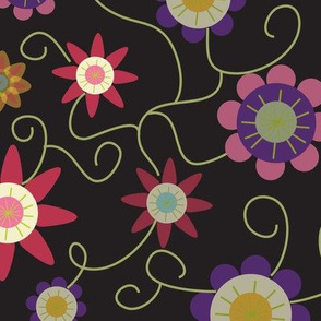 flower pattern in black