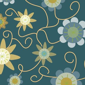 Floral pattern on teal ground