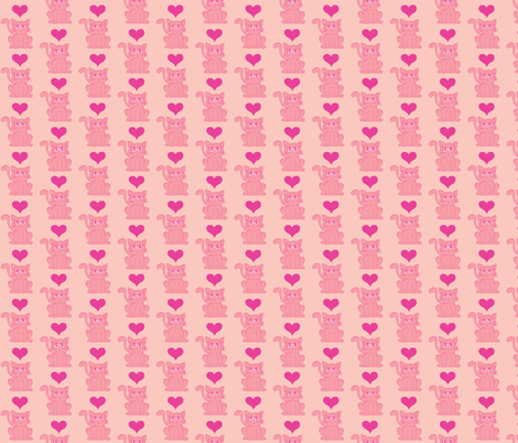 Pink Kitten 2: Pink Overkill fabric by lulakiti on Spoonflower - custom fabric