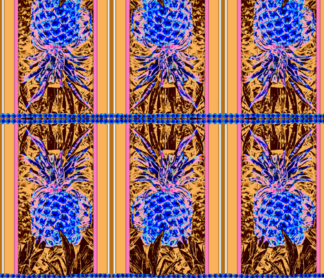Blue Pineapple  fabric by robin_rice on Spoonflower - custom fabric