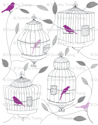 Purple Birds and Cages small