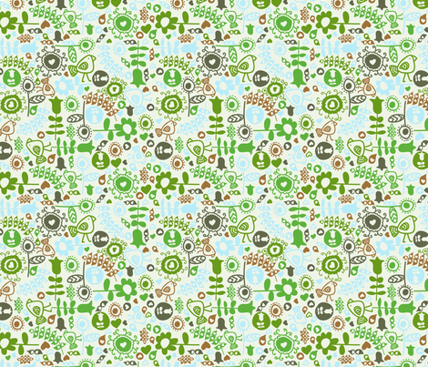 avian flora (green) fabric by mondaland on Spoonflower - custom fabric