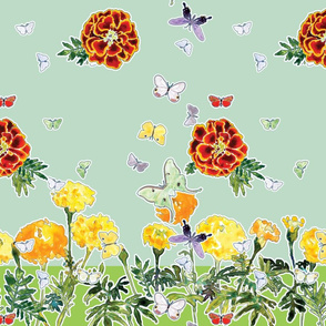 Moths and Marigolds 2 silk scarves. Cyan and Pale Aqua Blue