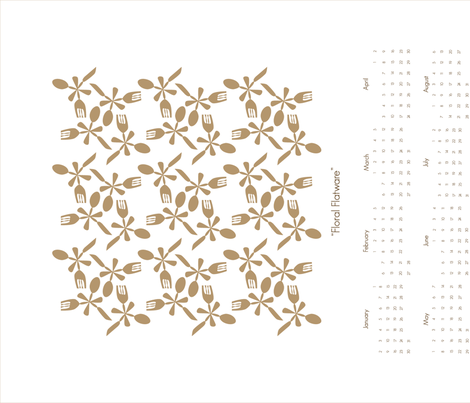 Floral Flatware-Tan fabric by threebysea on Spoonflower - custom fabric