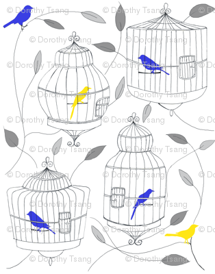 Blue and Yellow Birds and Cages