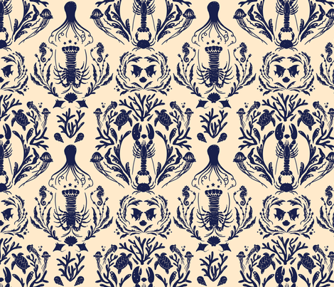 Wedding Damask - Tea & Ink colorway fabric by milktooth on Spoonflower - custom fabric