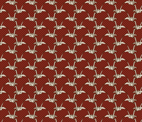 Paper Crane - White on Red Floral fabric by siya on Spoonflower - custom fabric