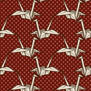 Paper Crane - White on Red Floral
