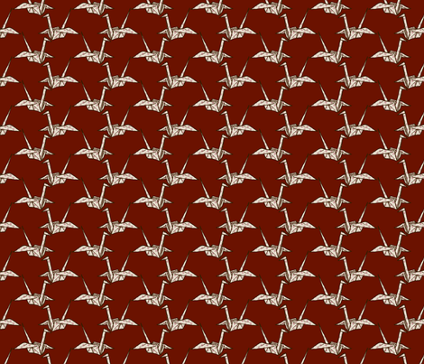 Paper Crane - White Floral on Dark Red fabric by siya on Spoonflower - custom fabric