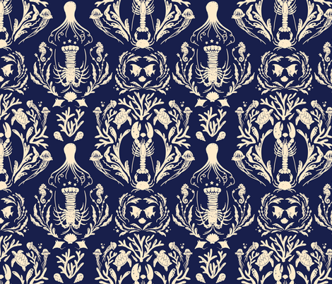 Wedding Damask - Ink & Tea colorway fabric by milktooth on Spoonflower - custom fabric