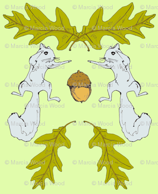 Squirrel & Acorn Damask 2