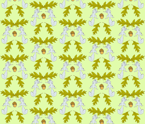 Squirrel & Acorn Damask 2 fabric by sparegus on Spoonflower - custom fabric