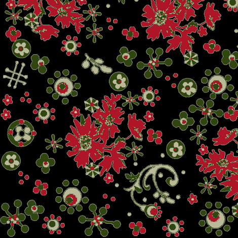 Christmas Flora / black fabric by paragonstudios on Spoonflower - custom fabric