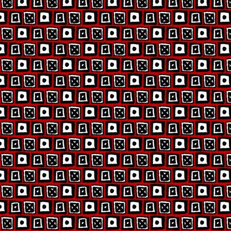 Doodle Boxes - Red fabric by siya on Spoonflower - custom fabric