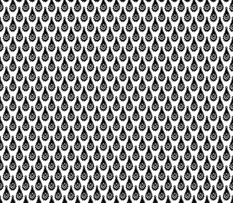 Teardrop Paisley - Black on White fabric by siya on Spoonflower - custom fabric