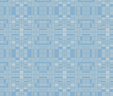 Urbane  Blocks in aqua and navy © Gingezel™ 2011 fabric by gingezel on Spoonflower - custom fabric
