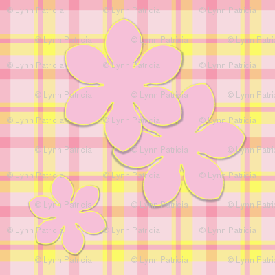 Pink Flower on Plaid