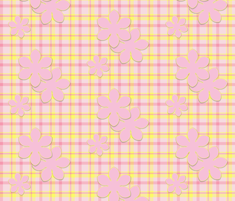 Pink Flower on Plaid fabric by oranshpeel on Spoonflower - custom fabric