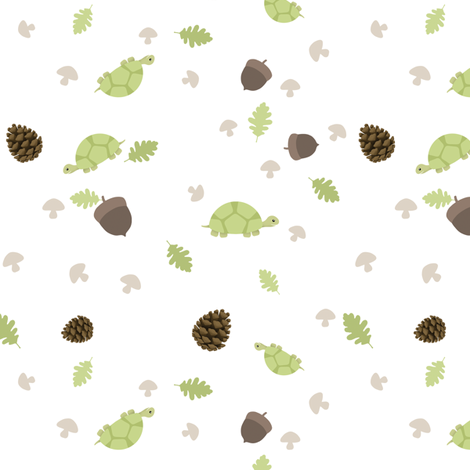 Turtles Wander with Acorns fabric by inktreepress on Spoonflower - custom fabric