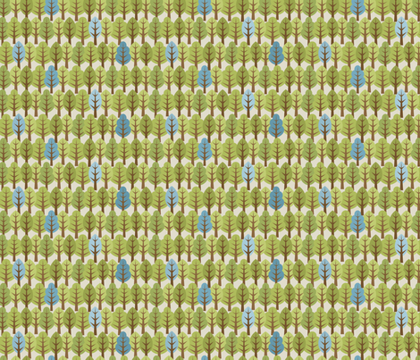Woodland Trees - Blue fabric by inktreepress on Spoonflower - custom fabric