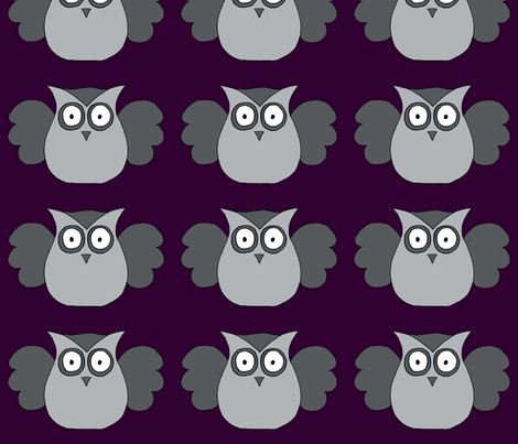 Grey owl fabric by fluffygeek on Spoonflower - custom fabric