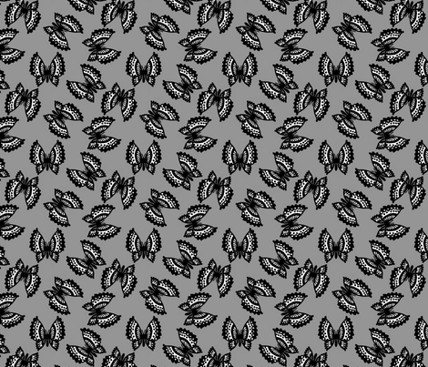 Black Lace Butterflies - Gray fabric by siya on Spoonflower - custom fabric