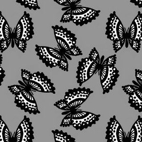 Black Lace Butterflies - Gray