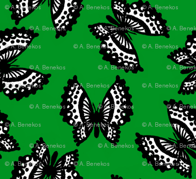 Black Lace Butterflies - Green