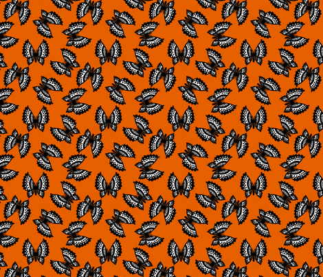 Black Lace Butterflies - Orange fabric by siya on Spoonflower - custom fabric