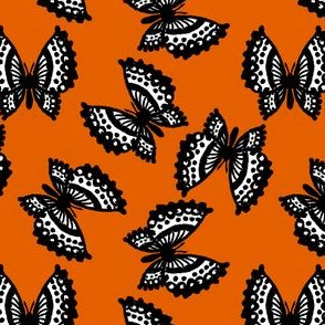 Black Lace Butterflies - Orange