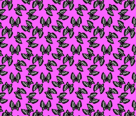 Black Lace Butterflies - Pink fabric by siya on Spoonflower - custom fabric